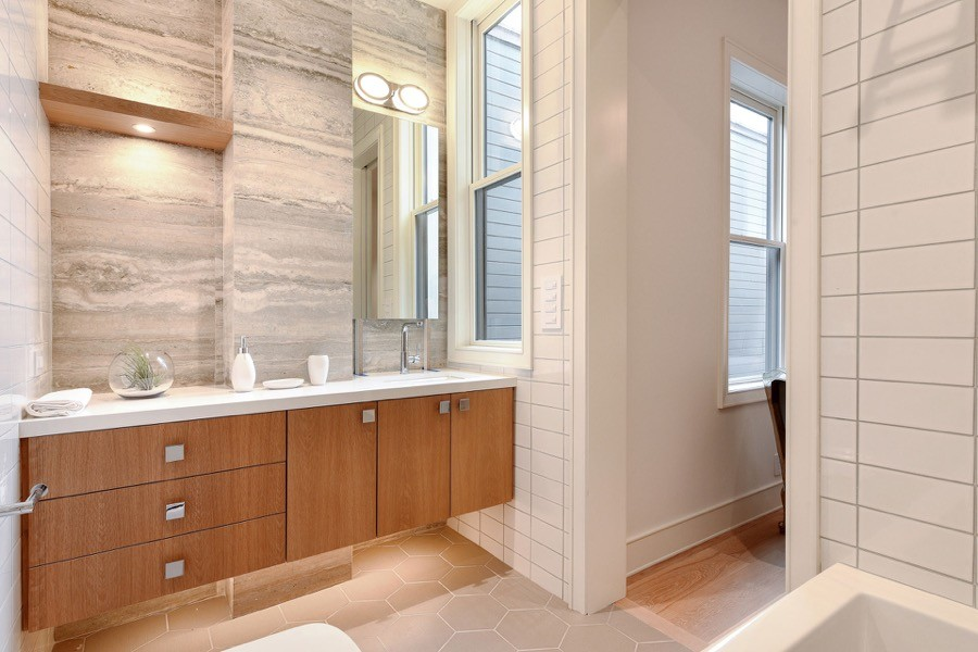 Broadway Fourth Bathroom With Floating Vanity, Windows, And Tiling