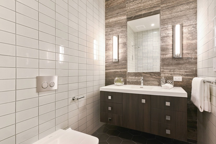 Broadway Bathroom Three Featuring Modern Floating Vanity, Mirror And Tiled Walls