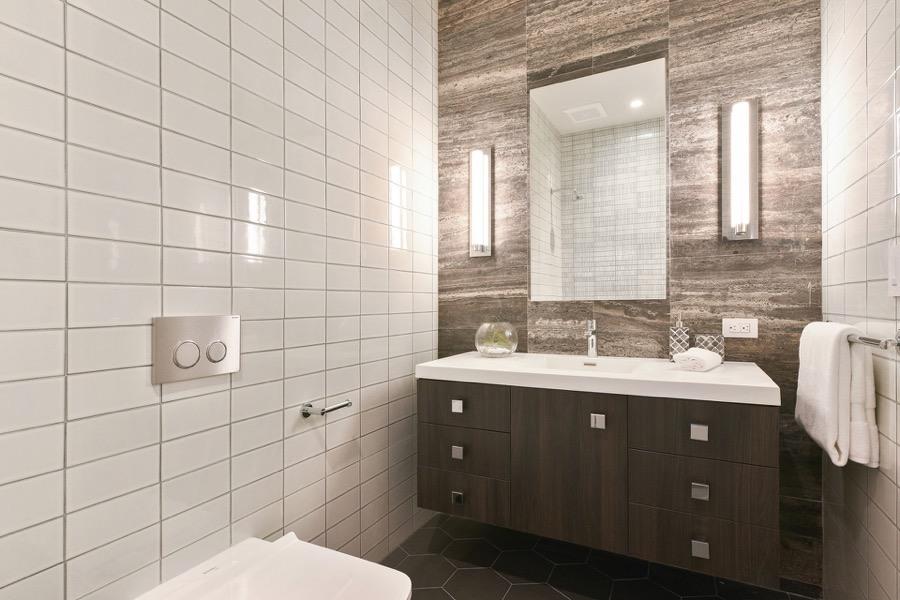 Broadway Bathroom Three Featuring Modern Floating Vanity, Mirror And Tiled Walls