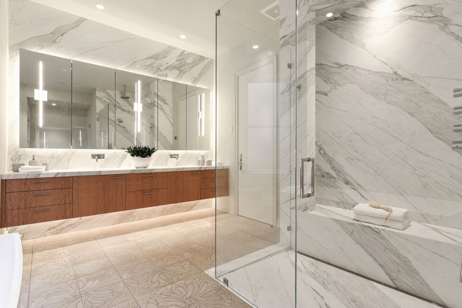 Broadway Second Bathroom With Walk-in Glass Panel Shower, Generous Mirrors, Elegant Floating Vanity And Floral Tiling