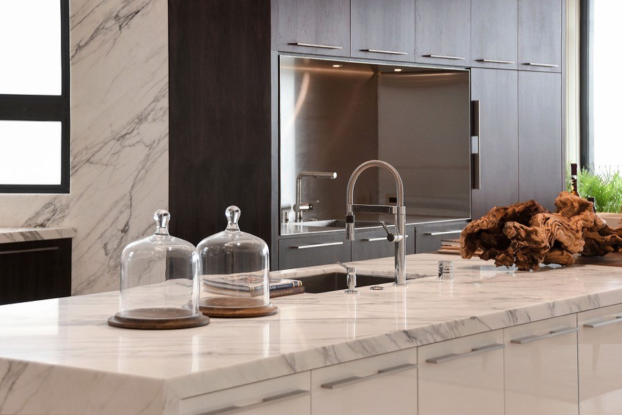 Broadway Stone Kitchen Countertop And Flush Cabinetry