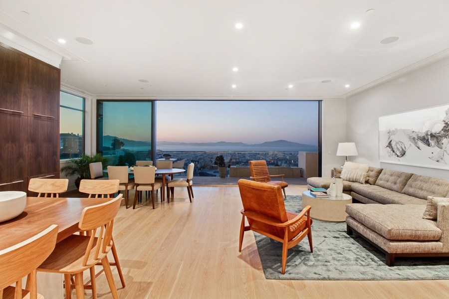 Broadway Living Balcony With Lounge Space, Chairs And Tables And Generous Views Of San Francisco Bay