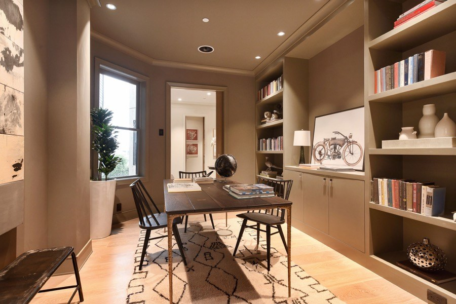 Broadway Study Space With Small Table, Chairs And Bookshelves