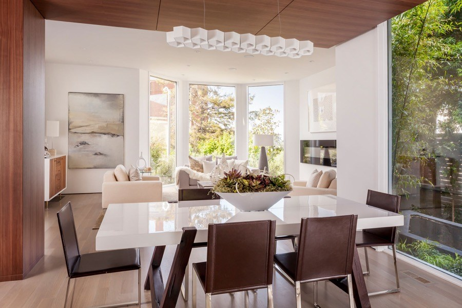 Broadway Dining Room With Modern Lighting And Elegant Natural Features