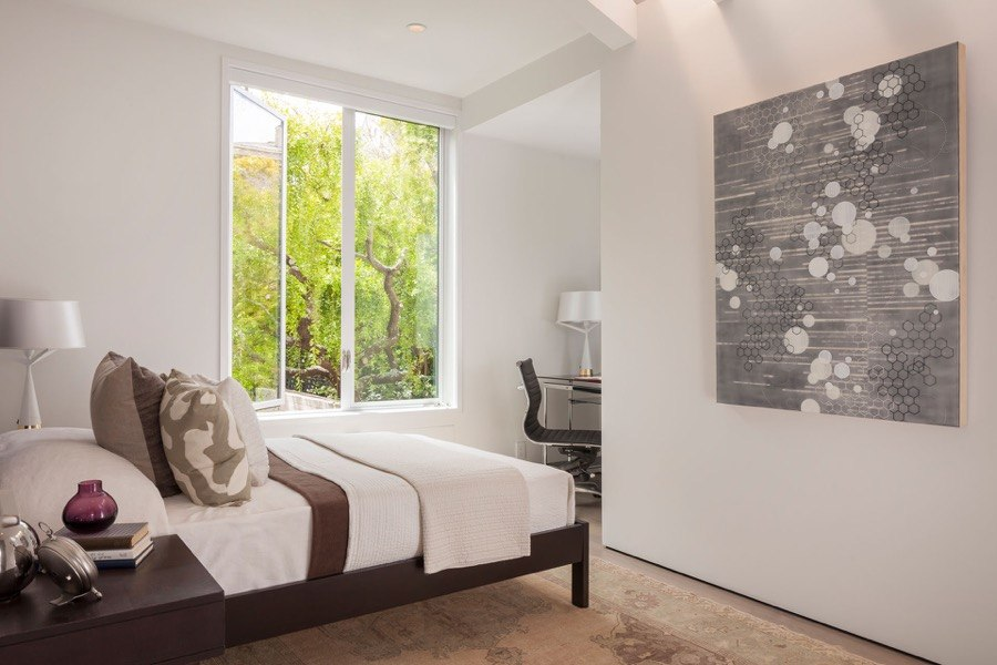 Broadway Guest Bedroom With White Interior, Bed, Window And Desk Space