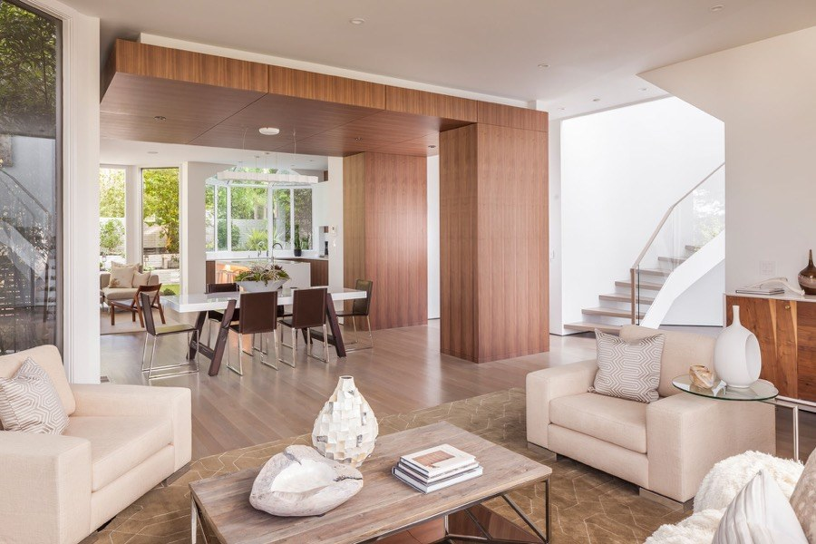 Broadway Modern Living And Dining Rooms With Natural Earth Tones